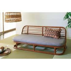 ラタン座椅子ソファシリーズ ソファ 幅120cm