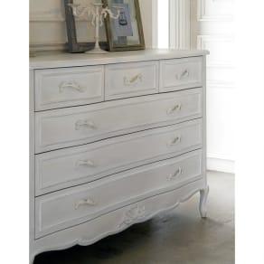 シャビーシック ホワイト フレンチ収納家具シリーズ チェスト 幅120 写真