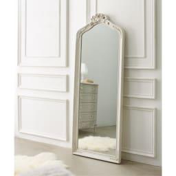 シャビーシックフレンチシリーズ ミラー ベッドルーム・玄関・クローゼットを華やかで女性らしいおしゃれ空間に。