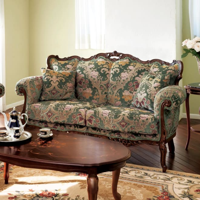 イタリア製 花柄が艶やかな金華山織張 DXソファ ラブ(2人掛け) くつろぎの時間に華やぎを添えるイタリア製ソファです。 ※お届けはラブソファ(2人掛け)です。