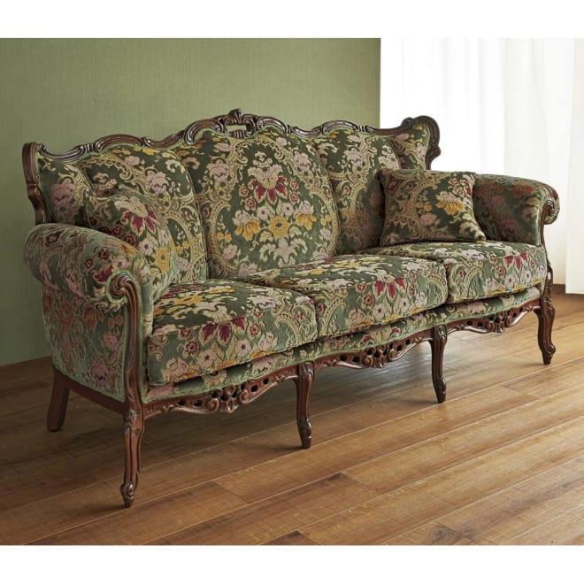 イタリア製 花柄が艶やかな 金華山織張 DXソファ トリプル(3人掛け) インテリアに華やかな存在感を添える、芸術品のように美しいソファです。