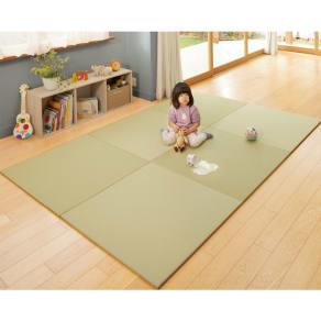 丸洗いできる!すっきりデザインのずれにくい軽量置き畳 ミニサイズ60cm×60cm・1畳用(2枚組) 写真