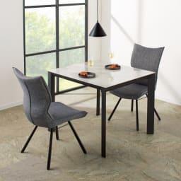セラミック天板ダイニングシリーズ テーブル幅90cm コーディネート例(イ)ホワイト系 ※お届けはテーブル幅90cmです。