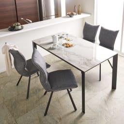 セラミック天板ダイニングシリーズ テーブル幅150cm コーディネート例(イ)ホワイト系 ※お届けはテーブル幅150cmです。