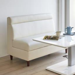 収納付きソファダイニング ソファ 幅118cm 使用イメージ(ア)ホワイト