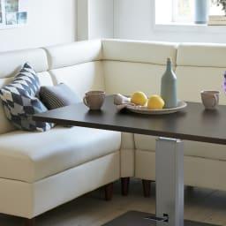 収納付きソファダイニング ソファコーナー 幅74cm 使用イメージ(ア)ホワイト ※お届けはコーナーソファです。