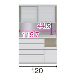 サイズが豊富な高機能シリーズ ダイニング家電収納 幅120奥行50高さ187cm/パモウナ JZL-1200R JZR-1200R (ア)家電収納の位置:右 ※赤文字は内寸、黒文字は外寸表示です。(単位:cm) オープン部奥行46 スライドテーブル部幅34.5高さ28.9奥行44cm