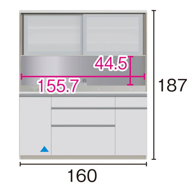 サイズが豊富な高機能シリーズ ダイニング深引き出し 幅160奥行50高さ187cm/パモウナ JZA-1600R ※赤文字は内寸、黒文字は外寸表示です。(単位:cm) オープン部奥行46cm ▲部分の収納部は開扉です。