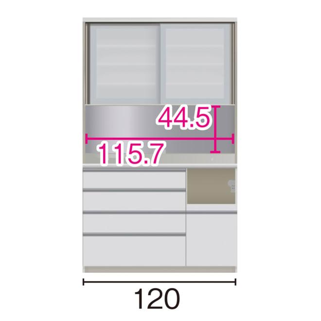 サイズが豊富な高機能シリーズ ダイニング家電収納 幅120奥行50高さ198cm/パモウナ VZL-1200R VZR-1200R (ア)家電収納の位置:右 ※赤文字は内寸、黒文字は外寸表示です。(単位:cm) オープン部奥行46 スライドテーブル部幅34.5高さ28.9奥44cm