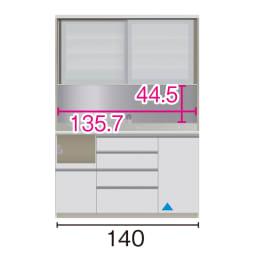 サイズが豊富な高機能シリーズ ダイニング家電収納 幅140奥行50高さ198cm/パモウナ VZL-1400R VZR-1400R (イ)家電収納の位置:左 ※赤文字は内寸、黒文字は外寸表示です。(単位:cm) オープン部奥行46 スライドテーブル部幅34.5高さ28.9奥44cm ▲部分の収納部は開扉です。