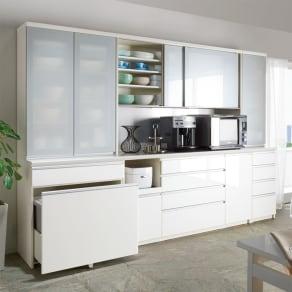 サイズが豊富な高機能シリーズ 食器棚深引き出し 幅80奥行50高さ198cm/パモウナ VZ-801K 写真