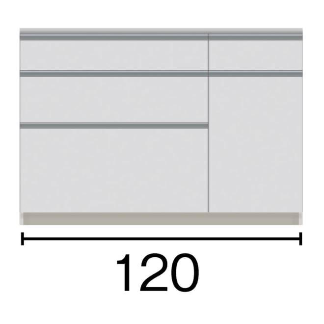 サイズが豊富な高機能シリーズ カウンター引き出し 幅120奥行45高さ84.8cm 黒文字は外寸表示です。(単位:cm)