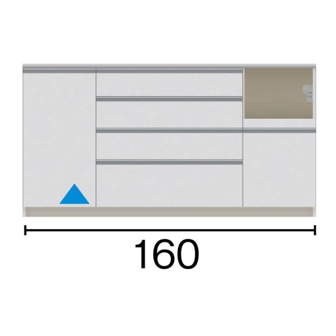サイズが豊富な高機能シリーズ カウンター家電収納 幅160奥行50高さ84.8cm 家電収納部の位置:(ア)右 赤文字は内寸、黒文字は外寸表示です。(単位:cm)オープン部奥行46 スライドテーブル部幅34.5高さ28.9奥行44cm ▲部分の収納部は開き扉です。