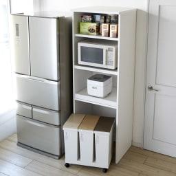 大型パントリーシリーズ レンジラック 下オープン 幅60cm (ア)ホワイト 家電もストックも取り出しやすく収納できるオープンキッチンラック。