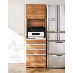 大型レンジ対応ステンレスクリーンキッチン キッチンボード 幅60cm (イ)ブラウン