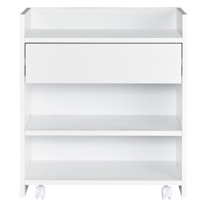 隠せるカウンター下収納 小引き出しタイプ 幅59高さ66cm (イ)ホワイト 文房具などは引き出しに。