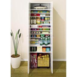 組立て不要 1cmピッチ段違いハーフ収納棚のキッチンストッカー食品収納庫 幅75cm 高さの違う物も1cmピッチのハーフ棚で効率良く収納できます。※写真は幅60cmタイプです。