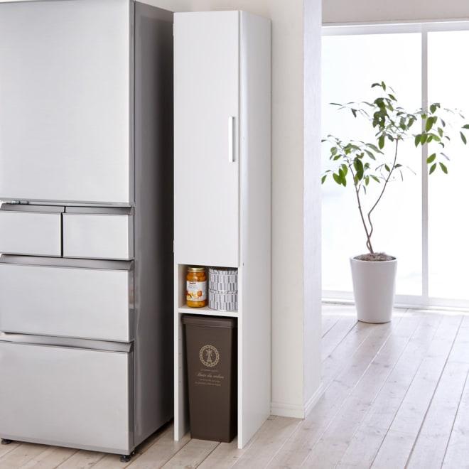 ゴミ箱上を活用できる下段オープンすき間収納庫 幅25cm ※ゴミ箱は商品に含まれません。ゴミ箱のサイズは20リットルです。
