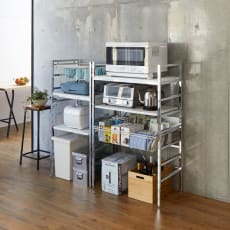 スタイリッシュなキッチン家電ラック ミドル 幅55.5cm 高さ122cm