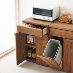 国産杉の頑丈キッチンラックシリーズ 収納庫 幅49cm 写真