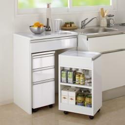 間仕切りキッチンカウンター カウンターデスク 幅65cm コーディネート例 (ア)ホワイト ※お届けはカウンターデスク幅65cmのみとなります。