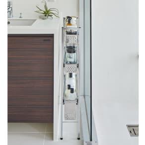 ステンレス洗濯機サイドラック 3段 幅14.5cm高さ80.5cm 写真