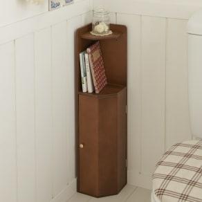 こだわりトイレの木製コーナーラック ロー 高さ75cm 写真