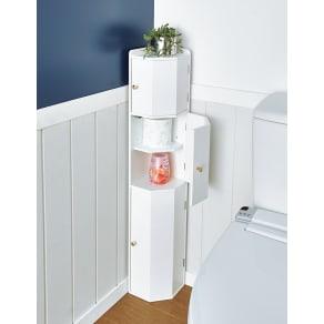 トイレコーナーラック 上部ゴミ箱付き 高さ100cm 写真