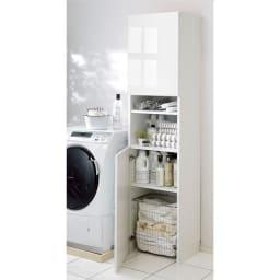 組立不要 出し入れしやすい(自由に使える)光沢仕上げ快適収納庫 幅45奥行35cm ランドリーの収納庫に。底板がないので洗濯かごも収納できます。(※洗濯かごは付属しておりません。)