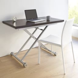 伸長式ガス圧昇降テーブル 幅100(天板90)cm デスクとしての使用も可能です(イ)ダークブラウン 通常時