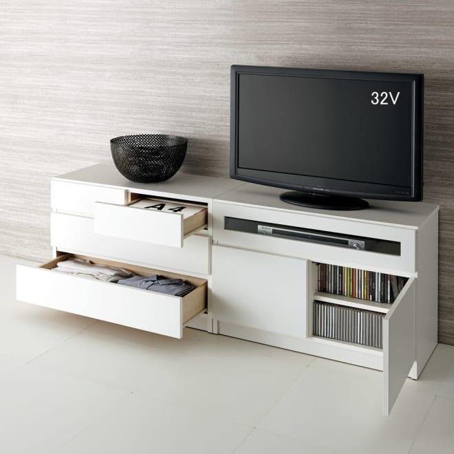 【完成品・国産家具】ベッドルームで大画面シアターシリーズ チェスト 幅80高さ55cm 使用イメージ(ア)ホワイト ※お届けはチェスト・幅80高さ55cmです。