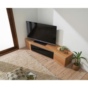 住宅事情を考えた天然木調コーナーテレビ台・テレビボード 左コーナー用 幅165cm 写真