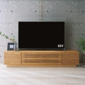 天然木無垢材のテレビ台・テレビボード アッシュ天然木 幅200cm 写真