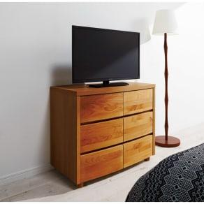 アルダー天然木アールデザインテレビ台シリーズ チェスト 幅85高さ71cm 写真