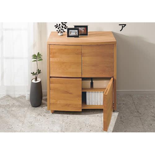 アルダー天然木アールデザインテレビ台シリーズ キャビネット 幅85高さ89.5cm 丸みを帯びたデザインが秀逸です。前板にはアルダーの無垢材を使いました。高級感ある曲線加工は日本製ならでは。