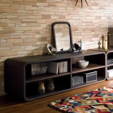 曲面加工のラウンドシェルフシリーズ テレビ台・テレビボード 2段2連 幅120cm高さ39cm 脚なしタイプ