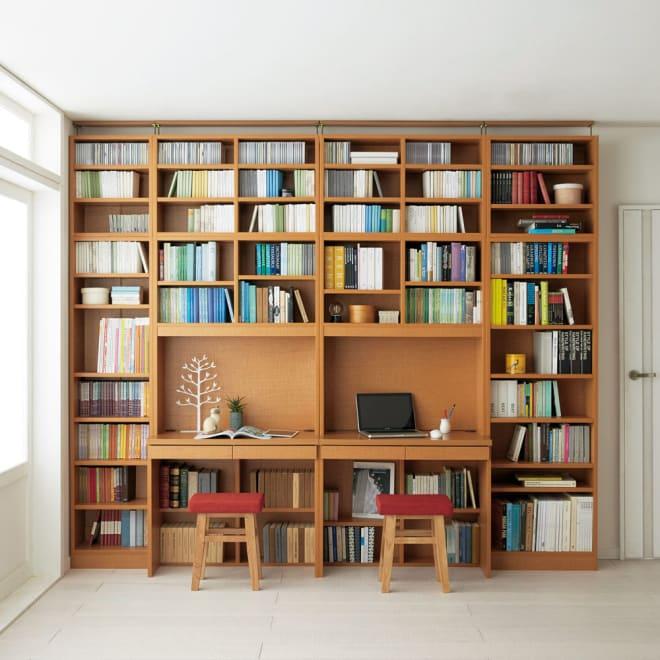 本好きの為のデスクシリーズ シェルフ 幅60cm 使用イメージ(イ)ナチュラル ※写真は左からシェルフ幅45、デスク幅90×2、シェルフ幅60に各サイズの上置きを組み合わせております。※お届けはシェルフです。
