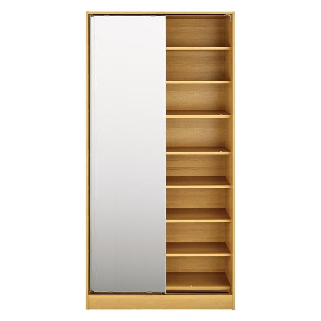 狭い場所でも収納たっぷり引き戸壁面収納シリーズ 収納庫 ミラー扉タイプ 幅75cm (イ)ナチュラル ※写真は幅90cmタイプです。