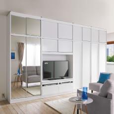 狭い場所でも収納たっぷり引き戸壁面収納シリーズ テレビ台 幅120.5cm