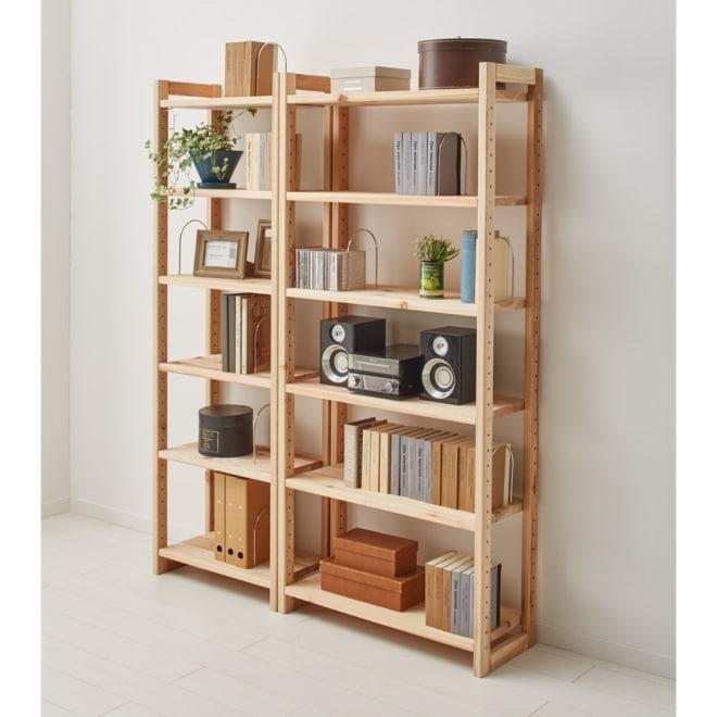 国産杉頑丈ディスプレイ本棚(ヴィンテージ風ラック) オープンタイプ・幅60cm高さ179cm 飾り棚・コレクションラックとしての使用もおすすめです。(ア)ナチュラル ※お届けは幅60cmオープンタイプです。
