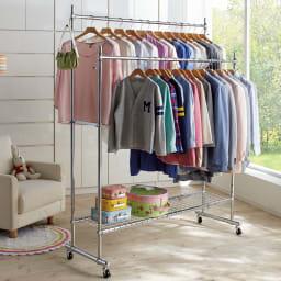 プロ仕様 伸縮頑丈ハンガーラック ダブルタイプ 幅122~152cm 季節や衣類の量に合わせて幅と高さが変えられる頑丈タイプのハンガーラック。成長とともに増えるお子様のお洋服掛けとしても便利にお使いいただけます。