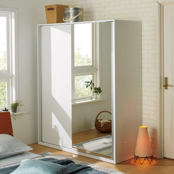 オールインワン引き戸ワードローブ 幅150cm (ウ)片面ミラータイプ・本体:ホワイト