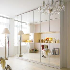 美しく飾れるシューズクローゼット 照明ライト付き下駄箱 幅80cm高さ180cm 写真