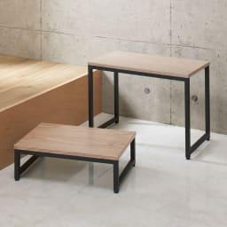 ブルックリン風 玄関ベンチ レギュラー 幅60cm コーディネート例 ※お届けは(写真右)ベンチ・レギュラータイプです。