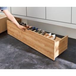 【日本製】下駄箱下木製シューズワゴン ハイ(高さ30cm) 幅120cm コーディネート例(ウ)ブラウン(木目)