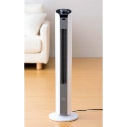縦型扇風機スリムタワーファン 持ち運びに便利な取っ手付き。左右方向に60度の首振り。