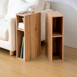 幅15cmすき間収納スリムユニット同色2個組 (ア)オーク調(木目調) 棚板は可動式です。(3.2cmピッチ・11段階)