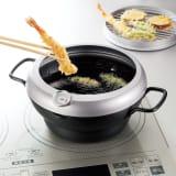 バット蓋付きIH対応段付き天ぷら鍋 24cm 写真