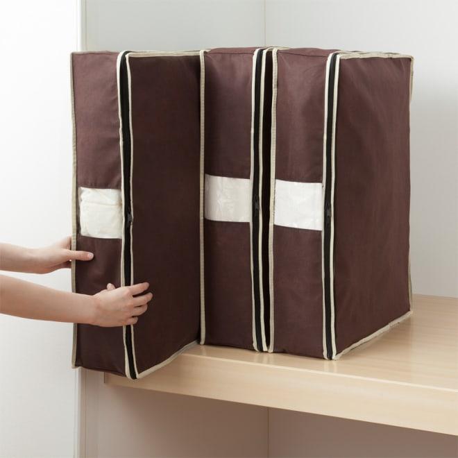 縦に収納できる炭入り消臭羽毛布団収納4個組 (ア)シングル4個組