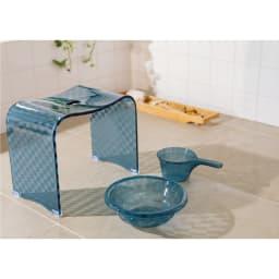 アクリル製バスチェアシリーズ バスチェア&バスボウル セット (イ)ブルーグレー系 ※湯手桶は販売セットに含まれません。